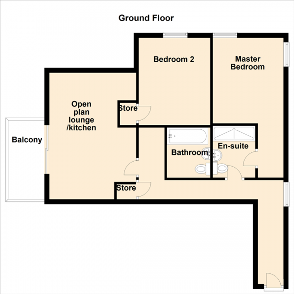 Floor Plan Image for 2 Bedroom Apartment for Sale in City Road, Newcastle Upon Tyne