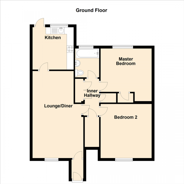 Floor Plan Image for 2 Bedroom Flat for Sale in Haggerston Crescent, Newcastle Upon Tyne