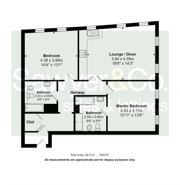 Floor Plan Image for 2 Bedroom Flat for Sale in Old Steine, Brighton