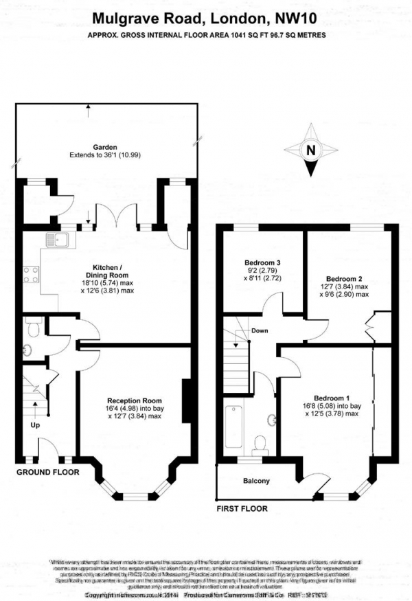 Floor Plan Image for 3 Bedroom Terraced House for Sale in Mulgrave Road, Dollis Hill