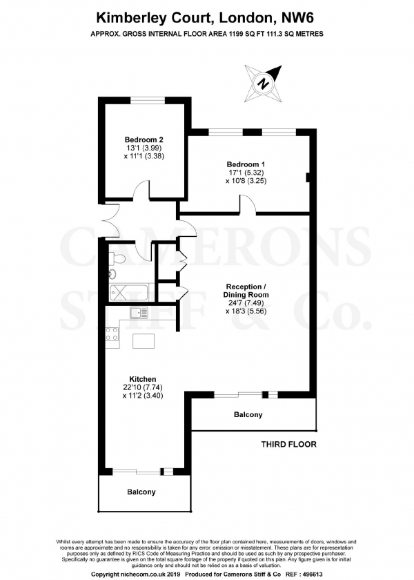 Floor Plan Image for 2 Bedroom Apartment to Rent in Kimberley Road, London, NW6