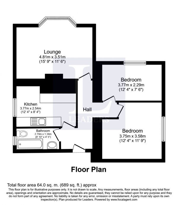 Floor Plan Image for 2 Bedroom Flat to Rent in Arundel Road, Littlehampton