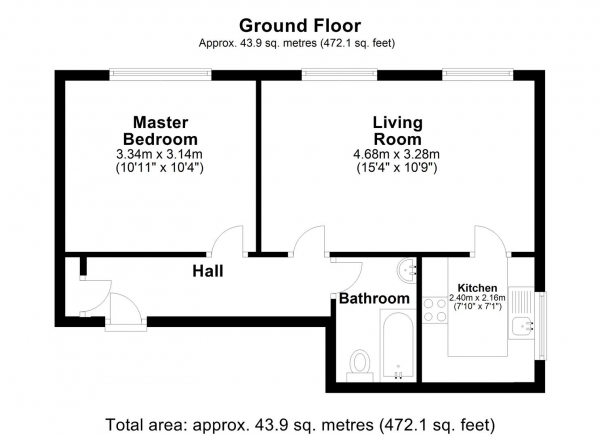 Floor Plan Image for 1 Bedroom Apartment for Sale in Heathcote Way, Yiewsley, West Drayton