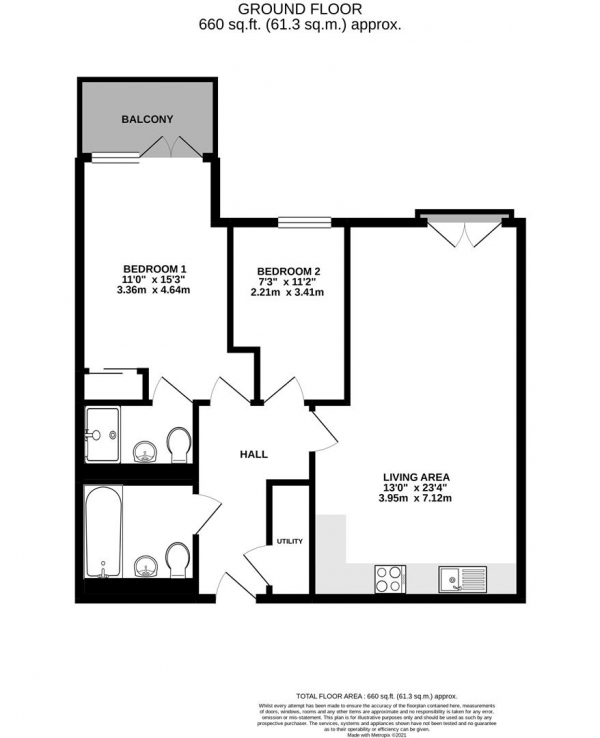 Floor Plan Image for 2 Bedroom Apartment for Sale in Pennyroyal Drive, West Drayton