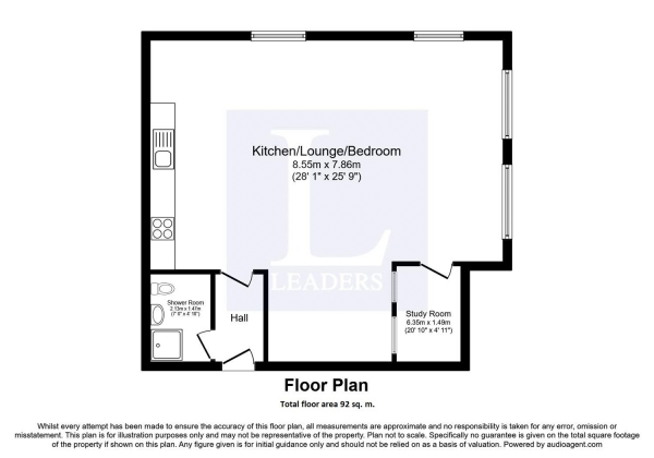 Floor Plan Image for 1 Bedroom Studio for Sale in Electric Wharf, Coventry