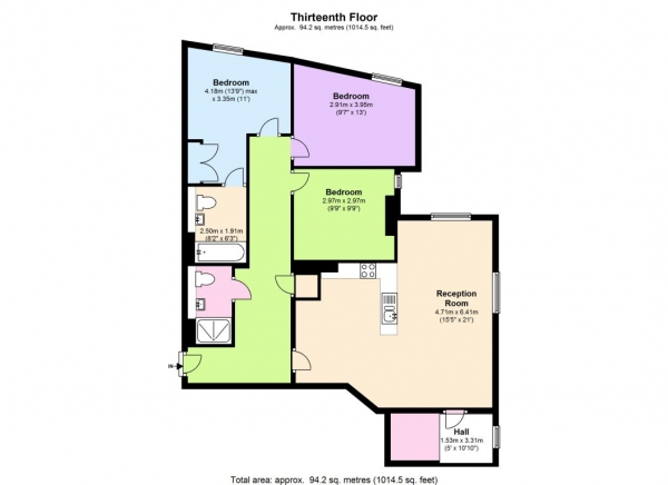 Floor Plan Image for 3 Bedroom Flat to Rent in STUNNING INTERIOR DESIGNED APARTMENT