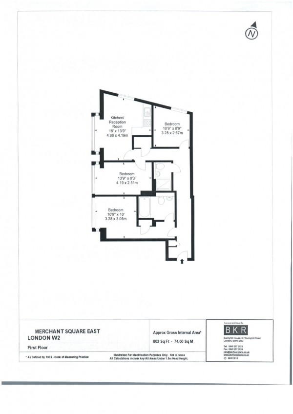 Floor Plan Image for 3 Bedroom Flat to Rent in FANTASTIC THREE BED IN STUNNING LOCATION