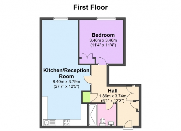 Floor Plan Image for 1 Bedroom Flat to Rent in Interior Designed 1 bed, just off the Broadway