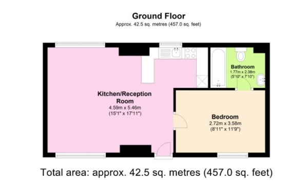 Floor Plan Image for 1 Bedroom Flat to Rent in GORGEOUS ONE BED WITH COMMUNAL GARDEN IN HAMPSTEAD