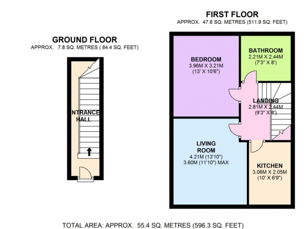 Floor Plan Image for 1 Bedroom Maisonette to Rent in BRIGHT AND AIRY FLAT FLAT IN HENDON
