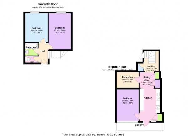 Floor Plan Image for 2 Bedroom Flat to Rent in Gayton House, Bow, London
