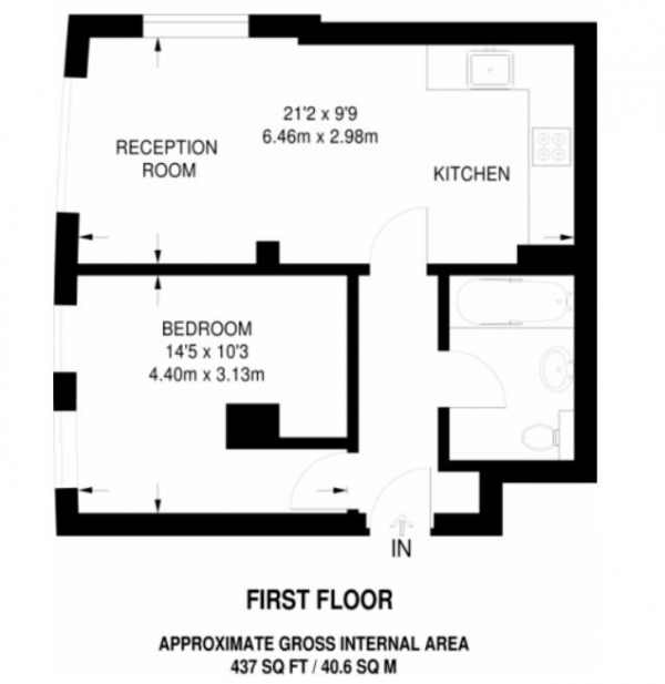 Floor Plan Image for 1 Bedroom Flat to Rent in Lovely 1 Bed With Fantastic Communal Roof Terrace