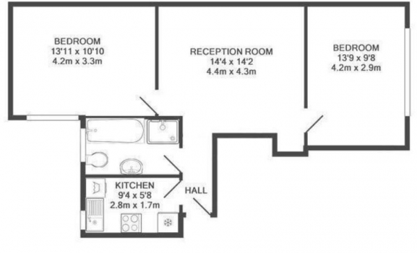 Floor Plan Image for 2 Bedroom Flat to Rent in SPACIOUS TWO BED WITH EXCELLENT TRANSPORT LINKs