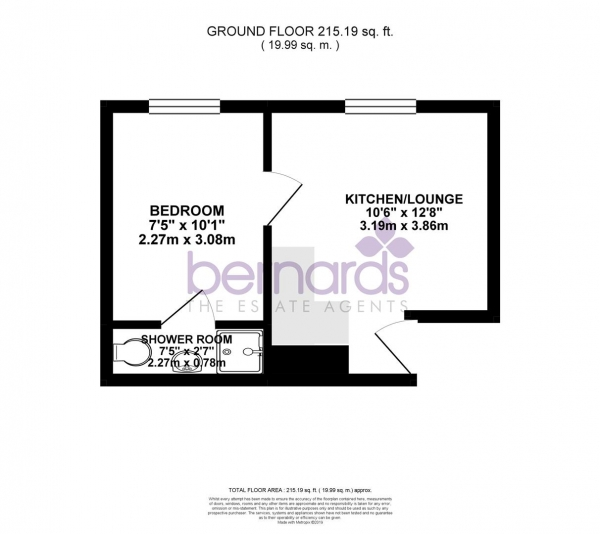 Floor Plan Image for 1 Bedroom Flat for Sale in Powerscourt Road, Portsmouth