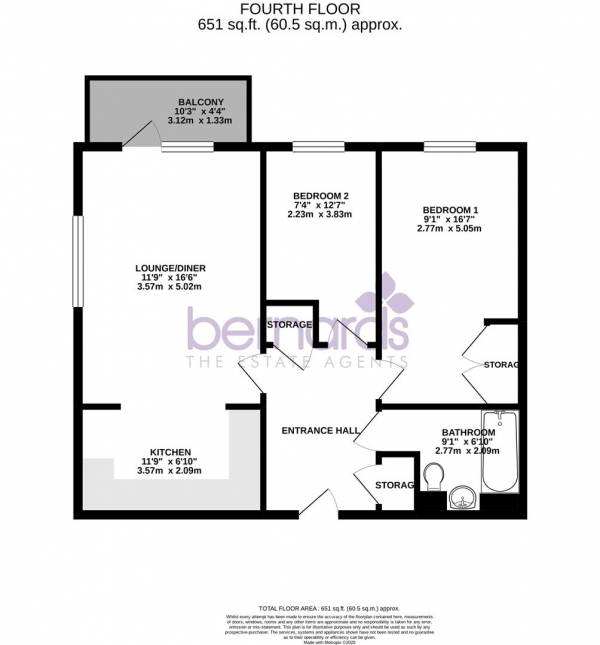 Floor Plan Image for 2 Bedroom Flat for Sale in Military Road, Hilsea, Portsmouth