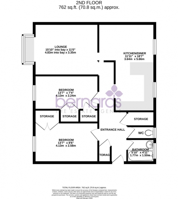 Floor Plan Image for 2 Bedroom Flat for Sale in Parsons Close, Portsmouth
