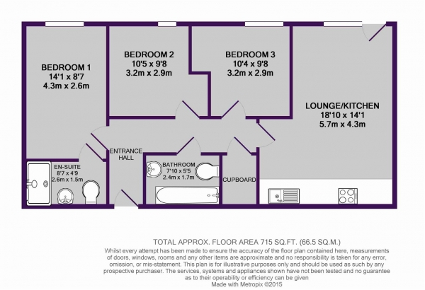 Floor Plan Image for 3 Bedroom Apartment for Sale in The Riley Building, Derwent Street, Salford