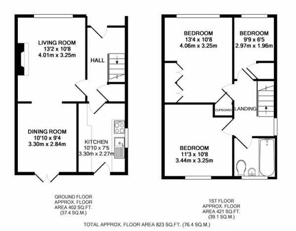 Floor Plan Image for 3 Bedroom Semi-Detached House for Sale in Acacia Crescent, Sheffield, Derbyshire, S21