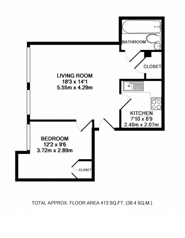 Floor Plan Image for 1 Bedroom Flat for Sale in Monck Street, London, London, SW1P