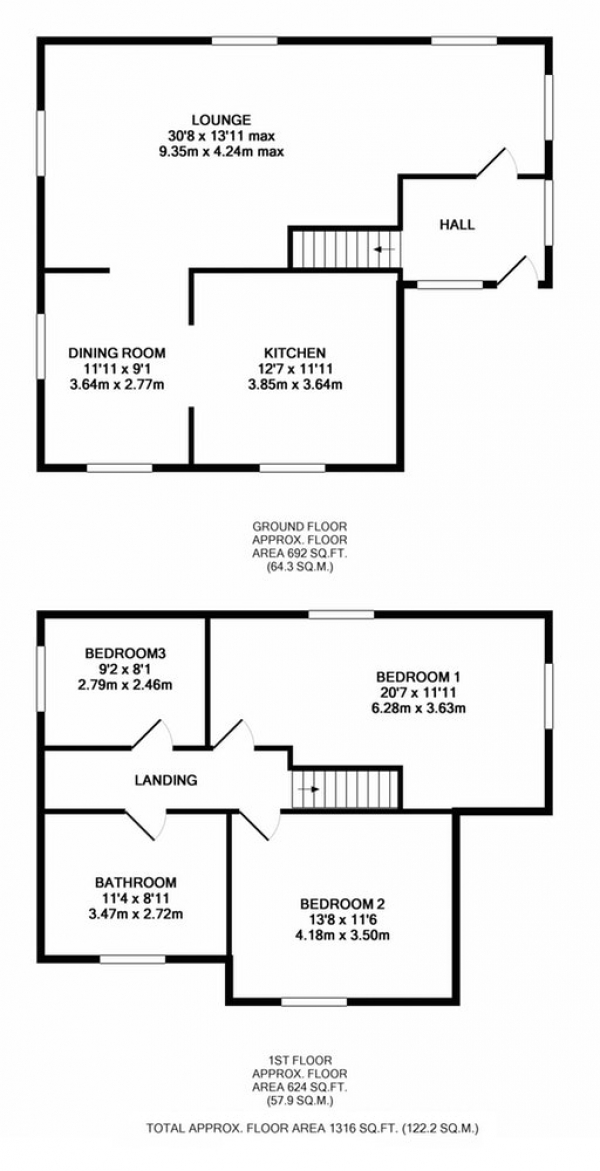 Floor Plan Image for 3 Bedroom Detached House for Sale in Holyfield, Waltham Abbey, Essex, EN9