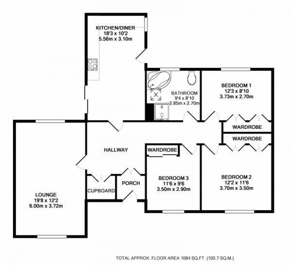 Floor Plan Image for 3 Bedroom Bungalow for Sale in Peareth Hall Road, Gateshead, Tyne and Wear, NE9