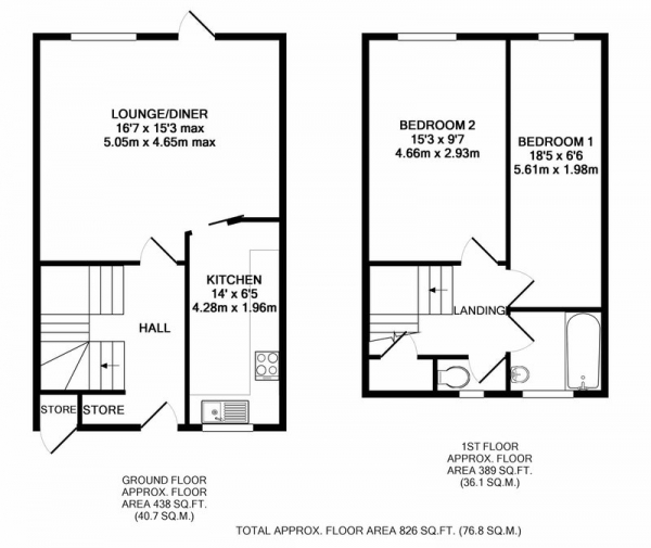Floor Plan Image for 2 Bedroom Terraced House for Sale in Hartington Close, Harrow, Middlesex, HA1