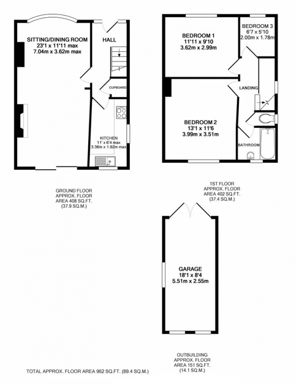 Floor Plan Image for 3 Bedroom Semi-Detached House for Sale in Ansell Road, Sheffield, South Yorkshire, S11