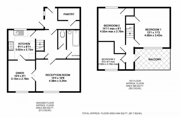 Floor Plan Image for 3 Bedroom End of Terrace House for Sale in Middle Hay Rise, Sheffield, South Yorkshire, S14