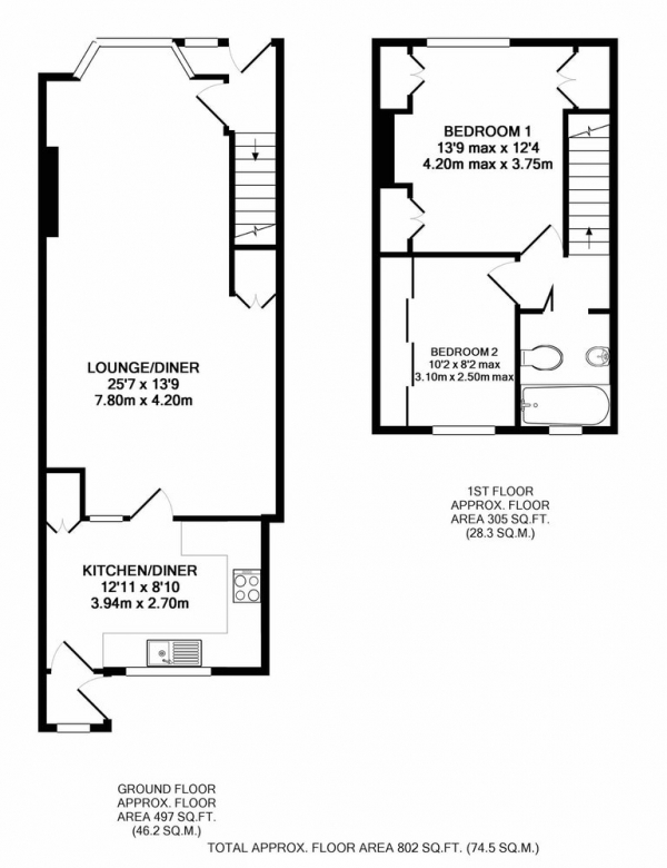 Floor Plan Image for 2 Bedroom Terraced House for Sale in Roslyn Road, Hull, East Yorkshire, HU3