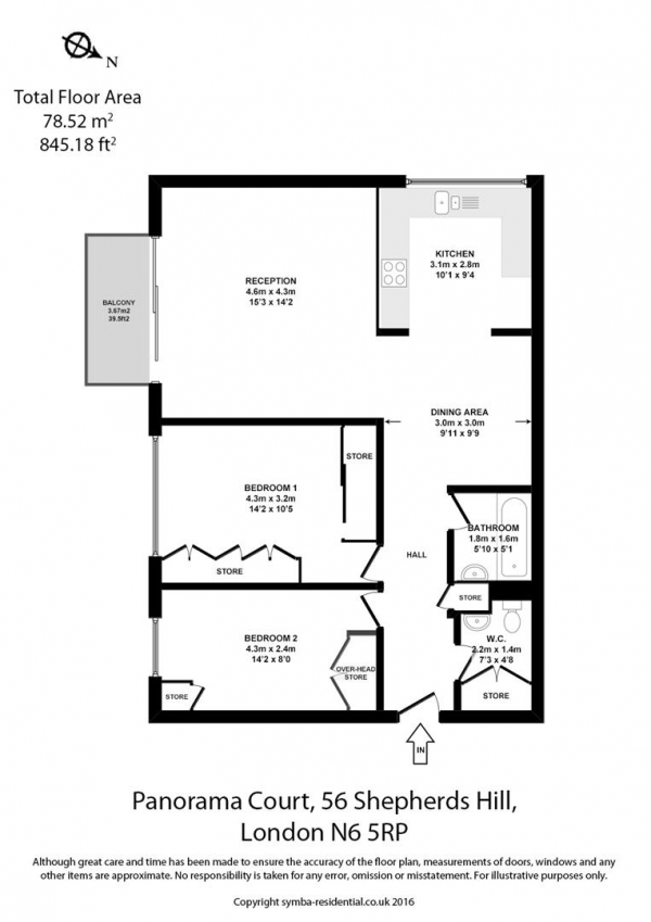 Floor Plan Image for 2 Bedroom Flat for Sale in Panorama Court, Highgate, N6