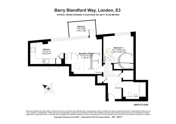 Floor Plan Image for 1 Bedroom Apartment to Rent in Stanley Turner House, London
