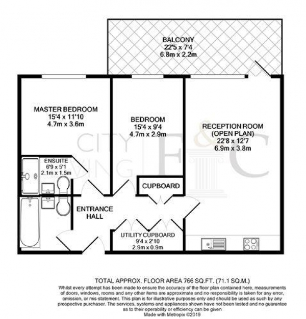 Floor Plan Image for 2 Bedroom Apartment to Rent in Caisson Moor Court, London, E3