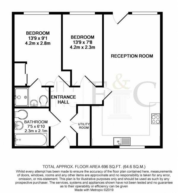 Floor Plan Image for 2 Bedroom Apartment to Rent in Lime Quarter, Bow