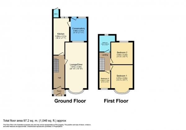 Floor Plan Image for 3 Bedroom Terraced House for Sale in Ashington Grove, Coventry