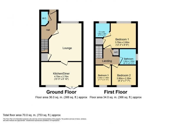 Floor Plan Image for 3 Bedroom Semi-Detached House for Sale in Ivens Grove, Coventry
