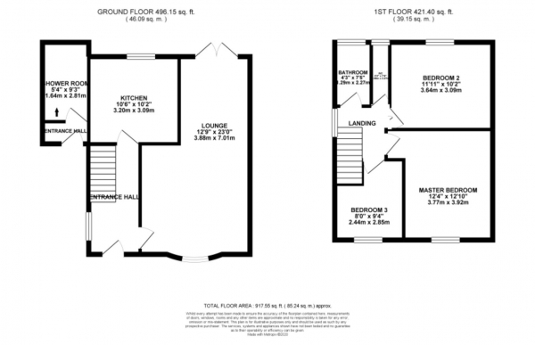 Floor Plan Image for 3 Bedroom End of Terrace House for Sale in Brixham Drive, Coventry