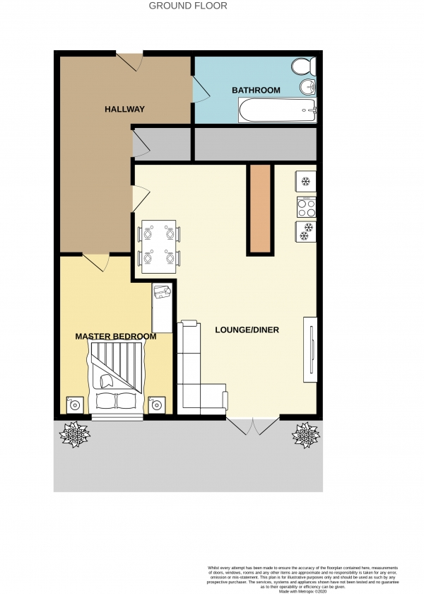 Floor Plan Image for 1 Bedroom Ground Flat to Rent in Hyde Bank Mill, Hyde Bank Road