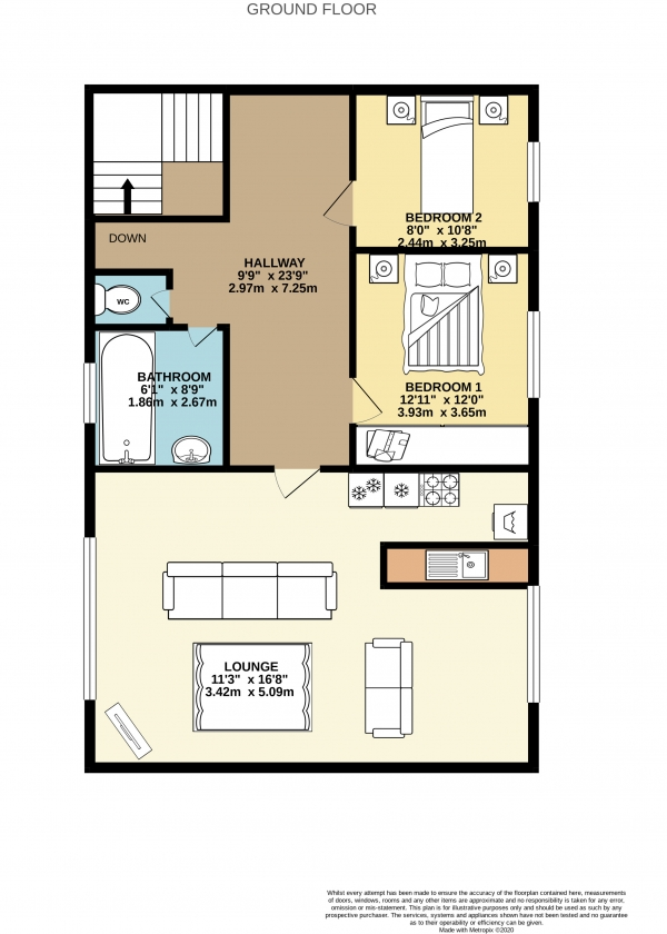 Floor Plan Image for 2 Bedroom Flat to Rent in Maitland Street, Offerton, Stockport