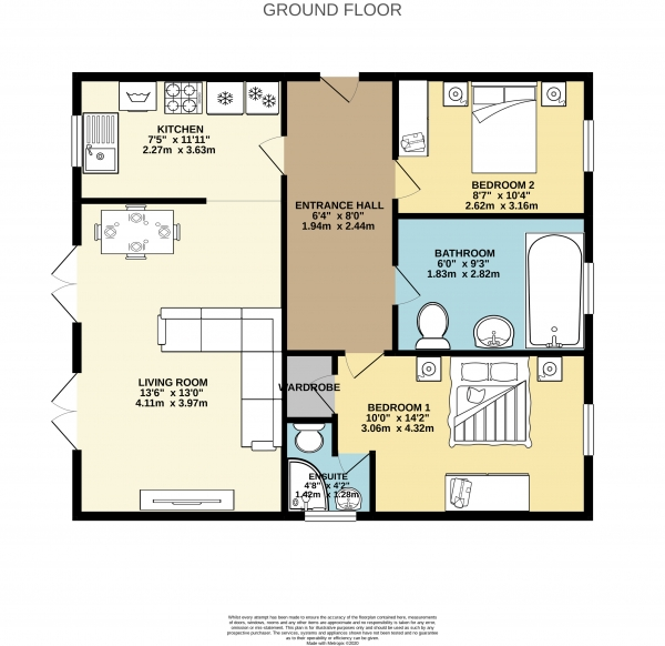 Floor Plan Image for 2 Bedroom Apartment to Rent in Canada Street, Heaviley, Stockport