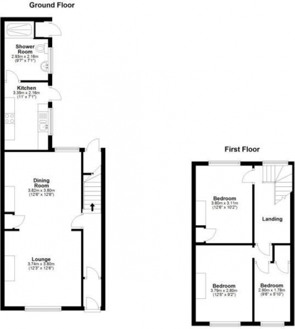 Floor Plan Image for 3 Bedroom Terraced House to Rent in Edwin Street, Houghton Le Spring