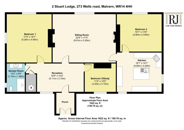 Floor Plan Image for 3 Bedroom Apartment for Sale in Wells Road, Malvern Wells, Worcestershire