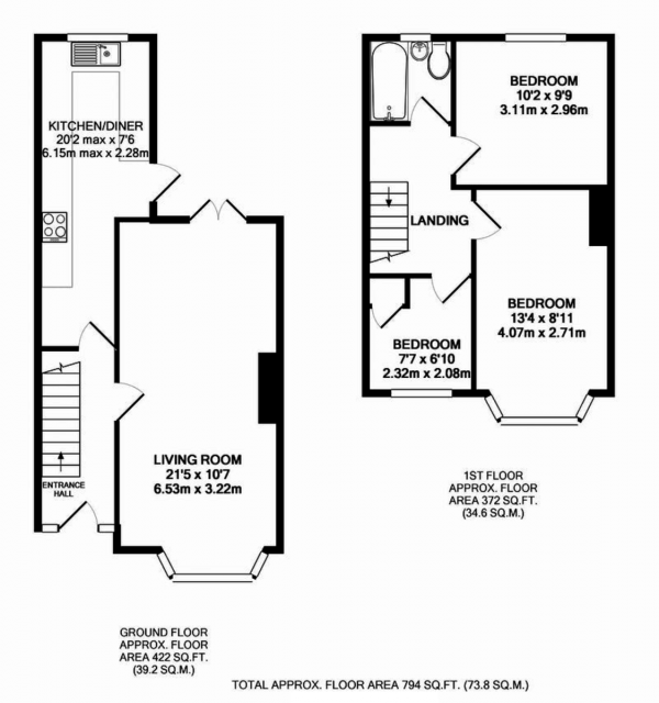 Floor Plan Image for 3 Bedroom End of Terrace House to Rent in Torcross Avenue, Coventry