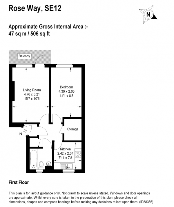 Floor Plan Image for 1 Bedroom Apartment for Sale in Rose Way, Lee, SE12 (jh)