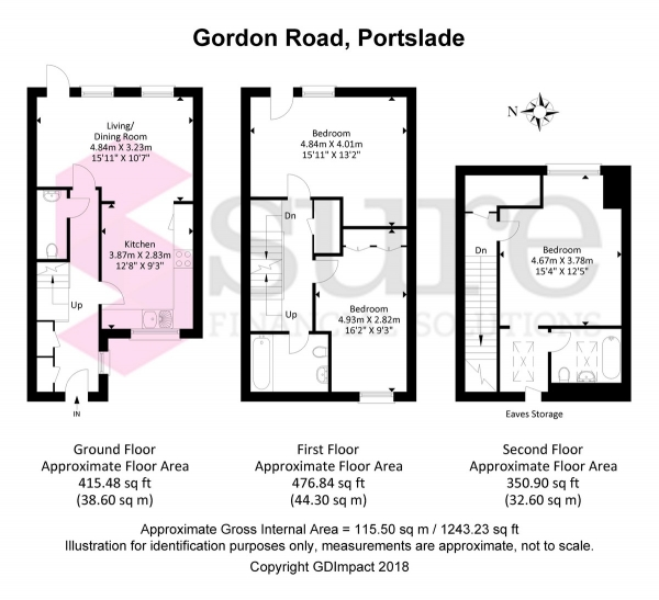 Floor Plan Image for 3 Bedroom Terraced House for Sale in Gordon Road, Portslade , Brighton