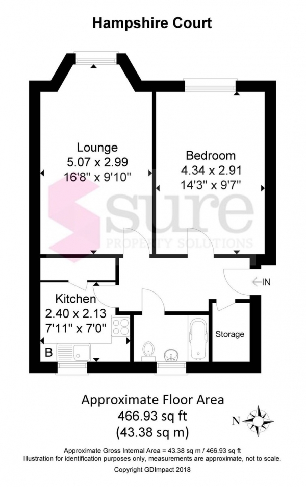 Floor Plan Image for 1 Bedroom Flat for Sale in Hampshire Court, Upper St James's Street