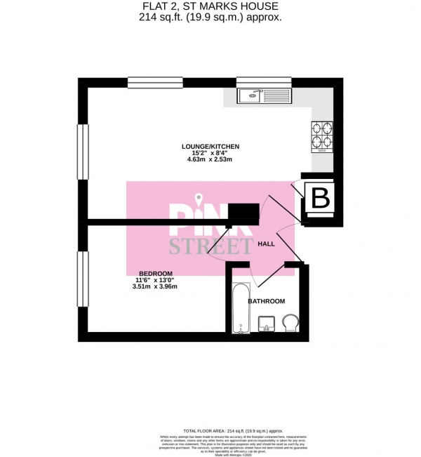 Floor Plan Image for 1 Bedroom Apartment for Sale in Flat 2, St. Marks House