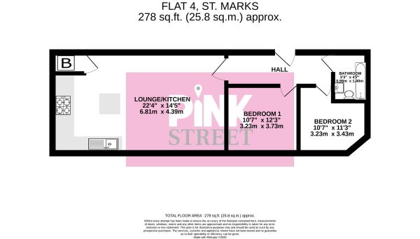 Floor Plan Image for 2 Bedroom Apartment for Sale in Flat 4, St. Marks House