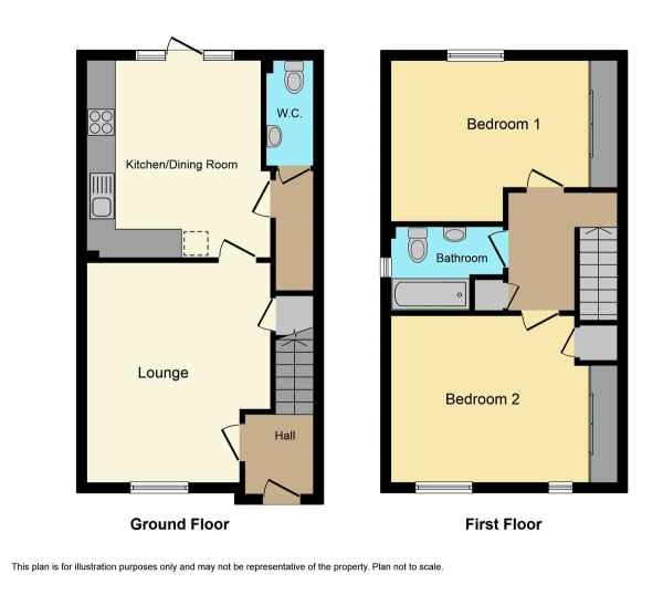Floor Plan Image for 2 Bedroom End of Terrace House for Sale in Eilean Donan Road, Inverness