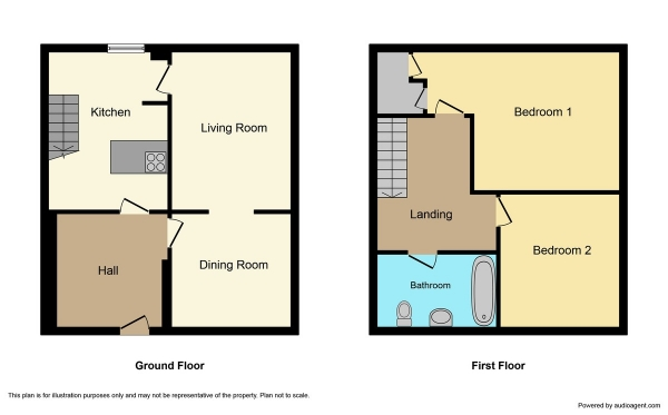 Floor Plan Image for 2 Bedroom Terraced House for Sale in Blackwell Court, Culloden