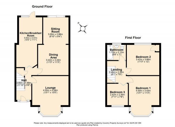 Floor Plan Image for 3 Bedroom Terraced House for Sale in Allesley Old Road, Chapelfields, Coventry